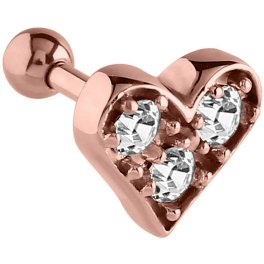 PVD Rose Gold Multi-Jewelled Heart Ear Stud