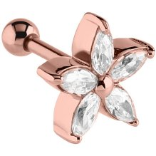 PVD Rose Gold Jewelled Starflower Ear Stud