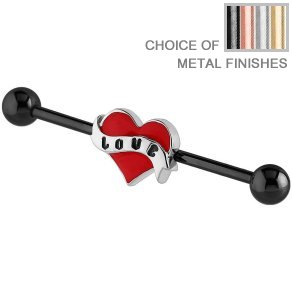 Industrial Scaffold Barbell - Red Love Heart