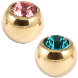 1.2mm Gauge PVD Gold on Steel Gemballs (2-pack)