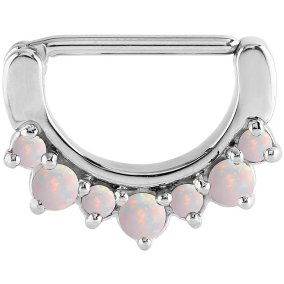 Steel Light Pink Opal Nipple Clicker