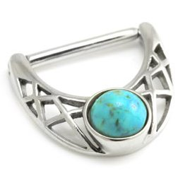 Steel Turquoise Gem Nipple Clicker