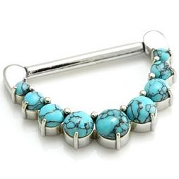 Steel Turquoise Gems Nipple Clicker