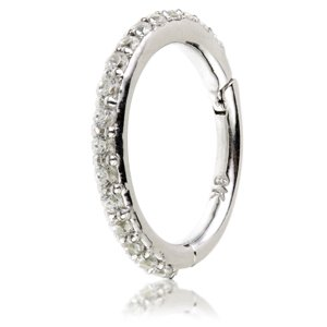 9ct White Gold Jewelled Eternity Hinged Ring