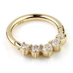 14ct Yellow Gold Jewelled Hinged Ring