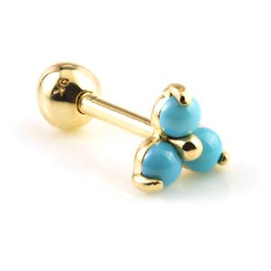 9ct Gold Turquoise Trinity Ear Stud