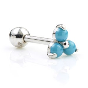 9ct White Gold Turquoise Trinity Ear Stud