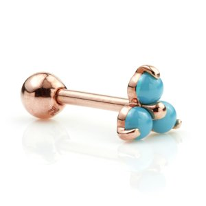 9ct Rose Gold Turquoise Trinity Ear Stud