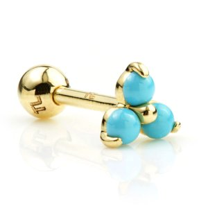 14ct Gold Turquoise Trinity Ear Stud