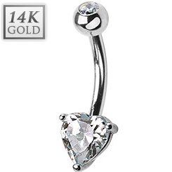 14ct White Gold Heart Belly Bar