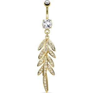 Gold-Plated Feathery Petals Belly Bar