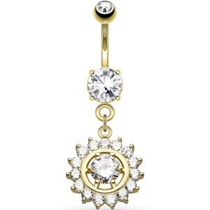 Gold-Plated Jewelled Circle Belly Bar