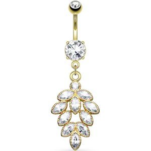 Gold-Plated Jewelled Cluster Belly Bar