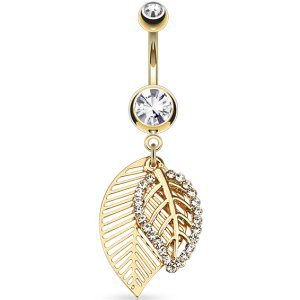 Gold-Plated Double Layered Leaves Belly Bar