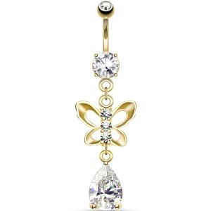 Gold-Plated Butterfly & Teardrop Belly Bar