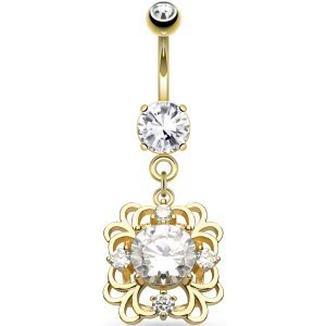 Gold-Plated Dangly Jewelled Belly Bar
