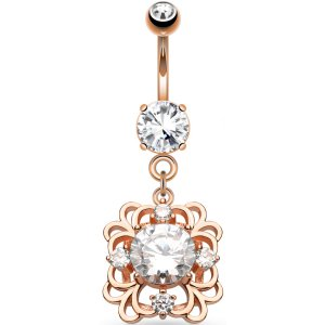 Rose Gold Dangly Jewelled Belly Bar