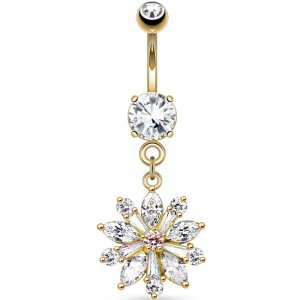 Gold-Plated Jewelled Flower Belly Bar