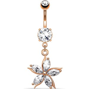 Rose Gold Jewelled Flower Belly Bar